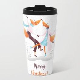 Merry Christmas Dancing foxes Travel Mug