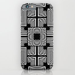 Black and white square hatches iPhone Case