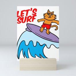 Surfer Cat Surfing Wave-rider Water Sport Sea GIft Mini Art Print