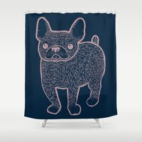 french bulldog Shower Curtains featuring French Bulldog by Syrupea