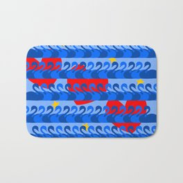 Graceful Blue Swans and Red Hearts Pattern Bath Mat