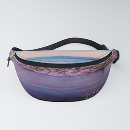 beach sunset with beautiful blue cloudy sky and blue wave in summer Fanny Pack