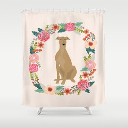 greyhound dog floral wreath dog gifts pet portraits Shower Curtain