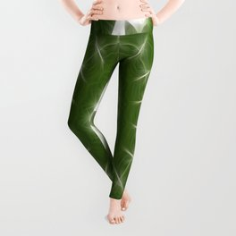 Green White Kaleidoscope Art 7 Leggings