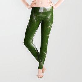 Green White Kaleidoscope Art 7 Leggings