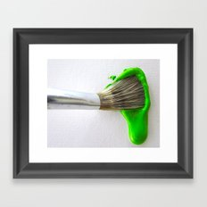 Drip Green Paint Framed Art Print