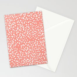 Coral and white minimal painted dots pattern dotty print decor for minimal home office dorm college Stationery Cards