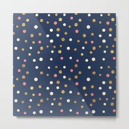 Hipster navy blue faux gold glitter modern polka dots Metal Print