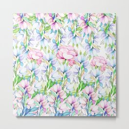 Hand painted pink lavender teal watercolor floral Metal Print