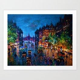 'Paris Boulevard' Night Scene Landscape Paitning by Konstantin Korovin Art Print