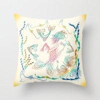 mermaid Throw Pillows featuring Mermaid by famenxt