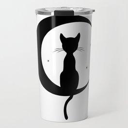 Cat on a Moon Silhouette (Lights) Travel Mug