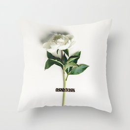 Beautiful peony flower taped on white background Throw Pillow