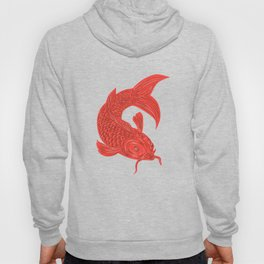 Red Koi Nishikigoi Carp Fish Drawing Hoody