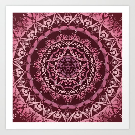 Dusky Pink Floral Damask Mandala Art Print