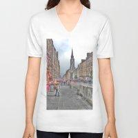 edinburgh V-neck T-shirts featuring Edinburgh by Christine Workman