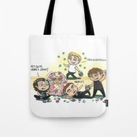 cyrilliart Tote Bags featuring Flower Fight by Cyrilliart