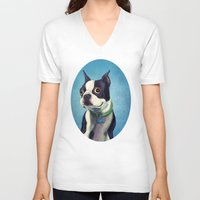 boston terrier V-neck T-shirts featuring Boston Terrier by Jackie Sullivan