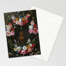 "Jan Philip van Thielen ""Festoon of Flowers surrounding a Bust of Flora"" Stationery Cards"