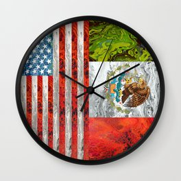 American Mexican flag Wall Clock