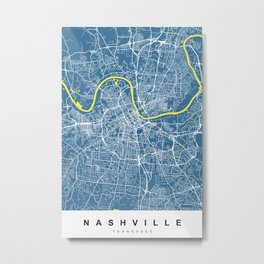 Nashville Map Tennessee | Blue & Yellow | More Colors, Review My Collections Metal Print