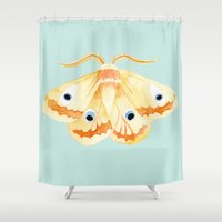 moth Shower Curtains featuring moth by terastar