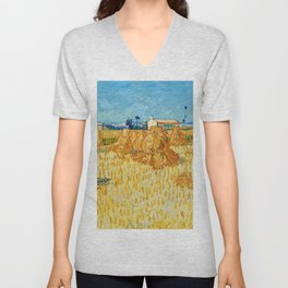 "Vincent Van Gogh ""Corn Harvest in Provence"" Unisex V-Neck"
