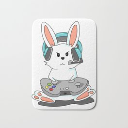 Gaming Bunny Gamer Rabit Headset Gamepad Gift Bath Mat