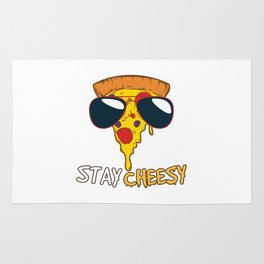 Stay Cheesy   Funny Cheese Pizza Quote Rug