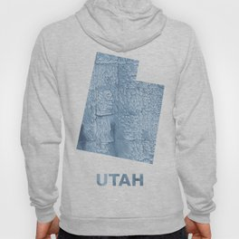Utah map outline Light steel blue blurred wash drawing Hoody
