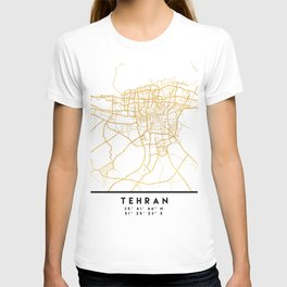 TEHRAN IRAN CITY STREET MAP ART T-shirt