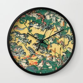 Frog Battle Japanese Print by Kawanabe Kyosai, 1864 Wall Clock
