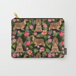 Cocker Spaniel hawaiian tropical print with dog breeds cocker spaniels Carry-All Pouch