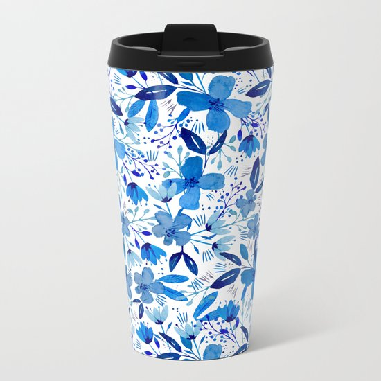 Blue Watercolour Florals Metal Travel Mug