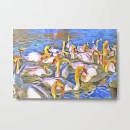 Swans Pop Art Metal Print