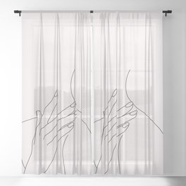 Figure line drawing illustration - Danna Natural Sheer Curtain