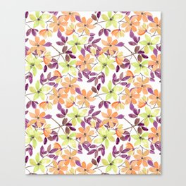 Orange, green and yellow watercolor flowers on white Canvas Print