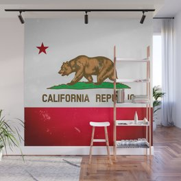 The Old Bear Flag - Californian flag old late Wall Mural