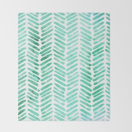 Handpainted Chevron pattern - light green and aqua - stripes Throw Blanket