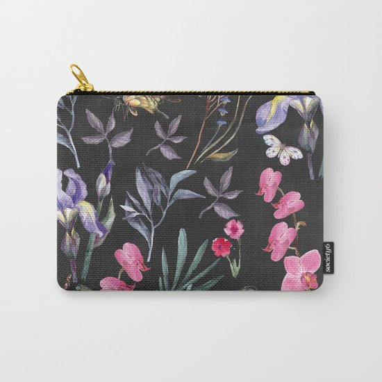 Pattern of plants, flowers and butterflies Carry-All Pouch