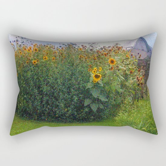 Sunflowers Overgrow the Barn Rectangular Pillow