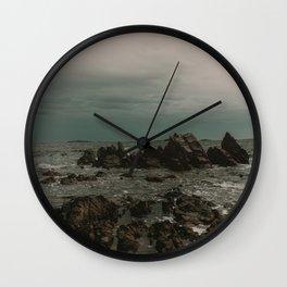 Dark Blue Rocky Ocean Wall Clock