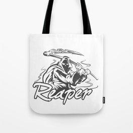 Hand Inked Grim Reaper Illustration Tote Bag