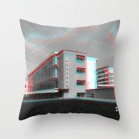 bauhaus Throw Pillows featuring Bauhaus · Das Bauhaus 4 by Marko Köppe