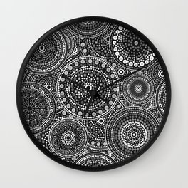 Dot Art Circles Grayscale Wall Clock