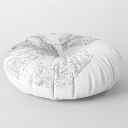 Charleston White Map Floor Pillow