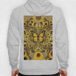 BLACK-GOLD MONARCHS SUNFLOWER ART Hoody