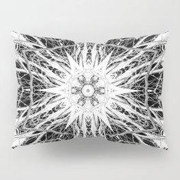 Dark Abstract Art, Marble, Mandala, Kaleidoscope, Surreal, Modern, Black and White Pillow Sham