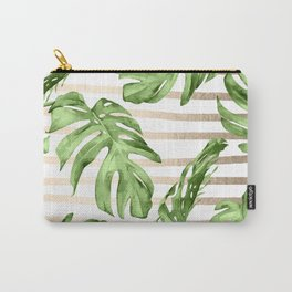 Simply Tropical White Gold Sands Stripes and Palm Leaves Carry-All Pouch