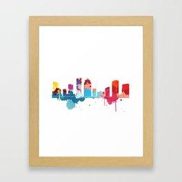 Houston Cityscape Watercolor Framed Art Print